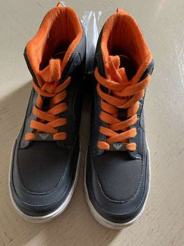 New Armani Junior Boys Leather/Nylon Sneakers Shoes Gray 2 US ( 33 Eur )
