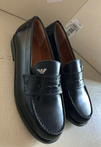 New Armani Junior Boys Leather Loafers Shoes Black 2.5 US ( 34 Eur )