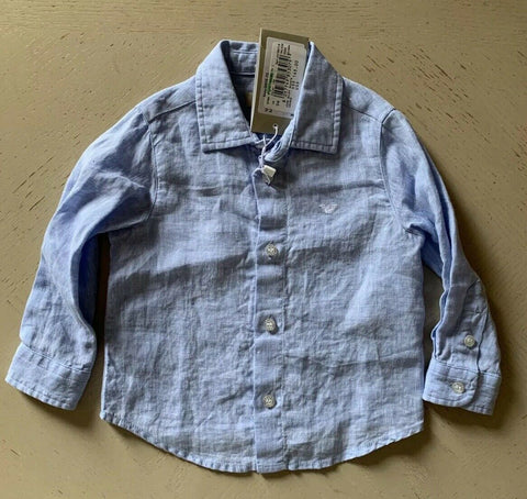 New $145 Armani Baby 100% Linen Baby Boys Shirt Blue 12M