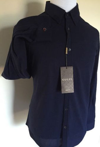 NWT $645 Gucci Duke Fit  Shirt Blue 43/17 2015 Made in Italy - BAYSUPERSTORE
