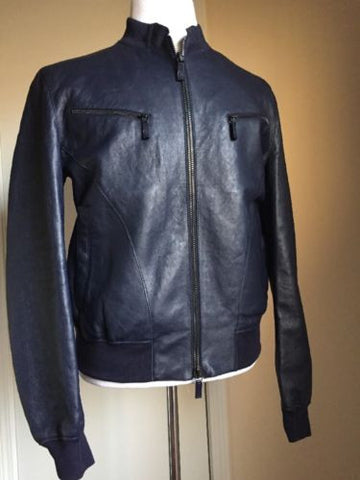 Giorgio Armani Blouson Leather Jacket 44R US (54R Euro) NWT Retail $4775 2015 - BAYSUPERSTORE