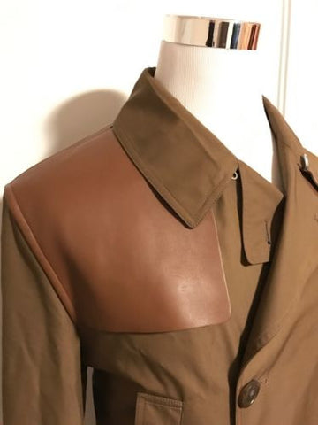 NWT $2495 Gucci Men's Light Brown Washed Gabardine Leather Trench Coat Jacket 52 - BAYSUPERSTORE