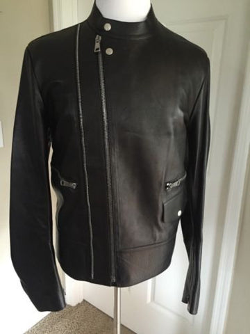New $6500 Gucci Men's Leather Black Jacket  Full Zip  42 US (52 Euro) Italy - BAYSUPERSTORE