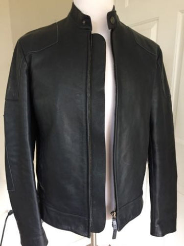 Giorgio Armani Mens Leather Jacket Black-Blue 40 US ( 50 Eur ) NWT $3495 Italy - BAYSUPERSTORE