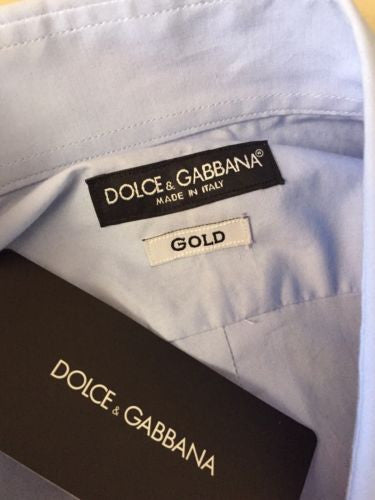 New $565 Dolce&Gabbana Gold Men's Dress Shirt Blue 43/17 Italy - BAYSUPERSTORE
