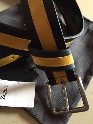 NWT $295 Zegna Sport Genuine Leather Belt Black/Yellow Size 36/95 Italy - BAYSUPERSTORE