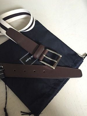 NWT $ 250 Ermenegildo Zegna Genuine Leather Canvas Belt  Size  46/120 Italy - BAYSUPERSTORE