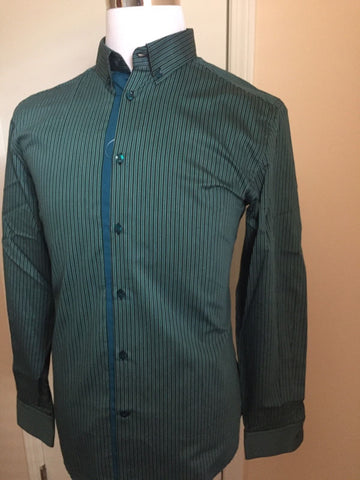 New $345 Versace Collection Dress Shirt Green Stripped Size 39 - BAYSUPERSTORE