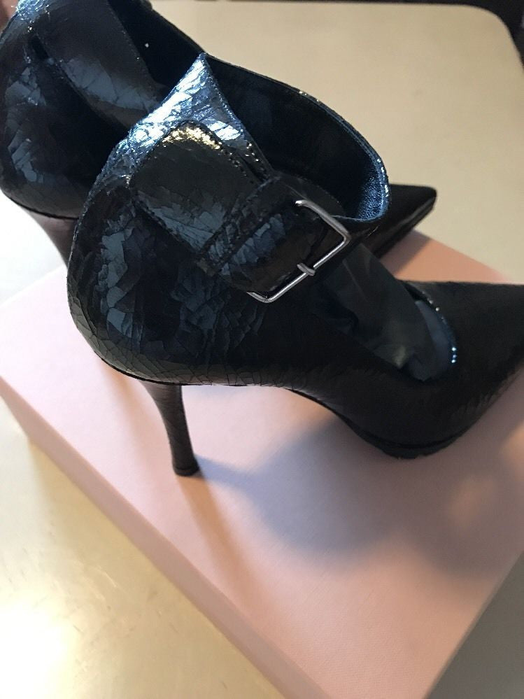NIB Miu Miu Prada Women's Calzature Cracle Classic Pumps Black 39 Italy $730 - BAYSUPERSTORE