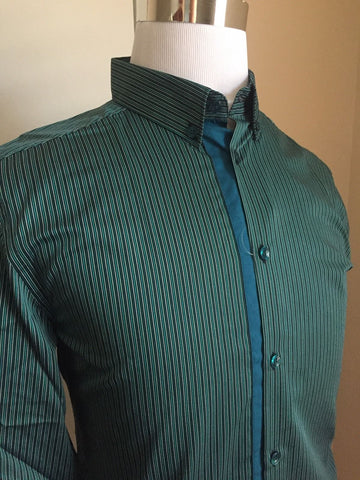 New $345 Versace Collection Dress Shirt Green Stripped Size 38 - BAYSUPERSTORE