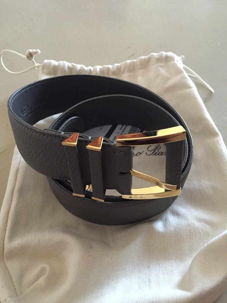 Loro Piana Gray 100% Dyed Calf Leather Unisex Belt Size 80/32 NWT $795 Italy - BAYSUPERSTORE