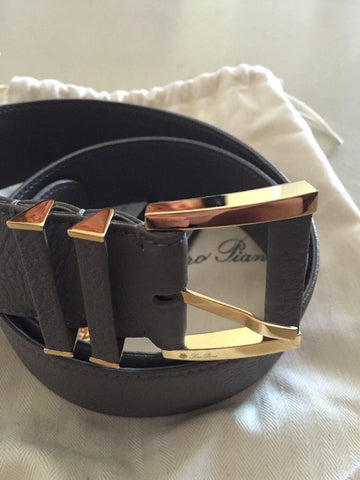 Loro Piana Gray 100% Dyed Calf Leather Unisex Belt 85/34 NWT $795 Italy - BAYSUPERSTORE