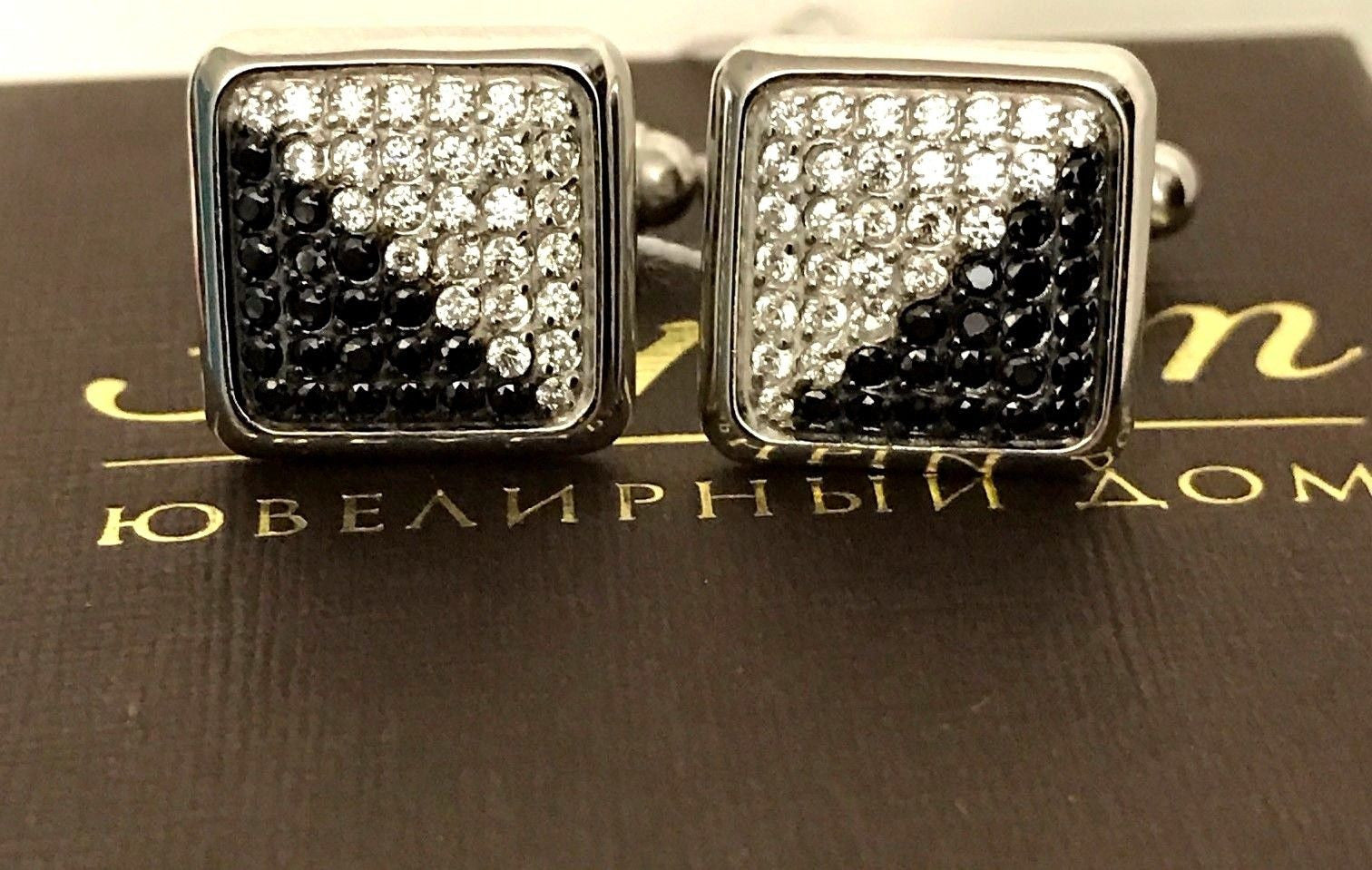 NWT Elegant Black & White Fianit with 585 White Gold Cufflinks by Estet Jewelry - BAYSUPERSTORE