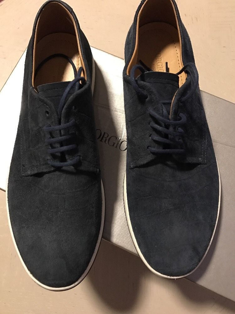New $625 Giorgio Armani Suede Shoes Blue Size 5 ( 38 Eur ) Italy - BAYSUPERSTORE