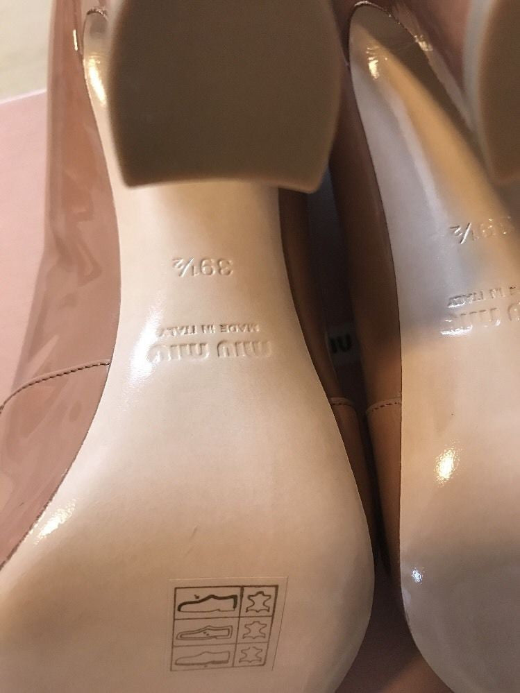 NIB Miu Miu Prada Women's Leather Curved Block Heels Shoes Beige 39.5 Italy - BAYSUPERSTORE