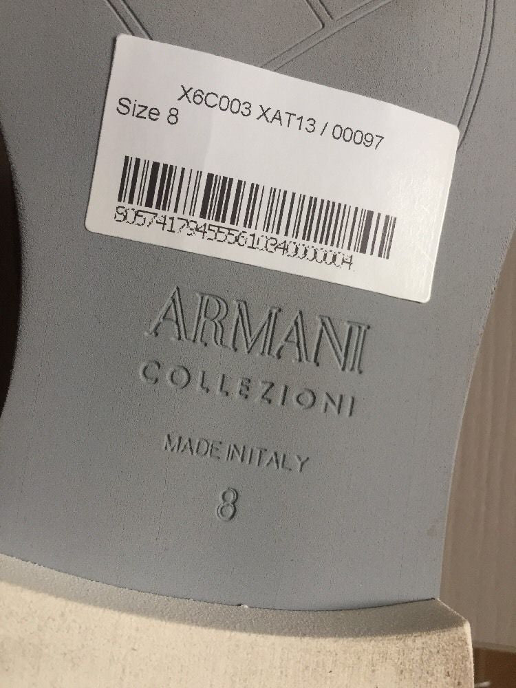 New $675 Armani Collezioni Men's Suede Shoes Beige 8 US ( 41 Eur ) Made In Italy - BAYSUPERSTORE