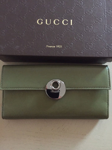 NWT Gucci Women's Genuine Leather Wallet Green Italy - BAYSUPERSTORE