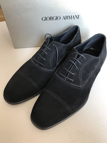 New $950 Giorgio Armani Men's Suede Shoes Black 8 ( 9 US ) Italy - BAYSUPERSTORE