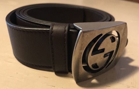 New Gucci Men's Brown Leather Cut Out GG- Buckle Logo Belt 95/38 Italy - BAYSUPERSTORE