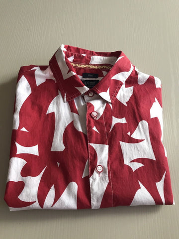 New $425 Armani Jeans Men's Short Sleeve Shirt Slim Fit Red/White Size L