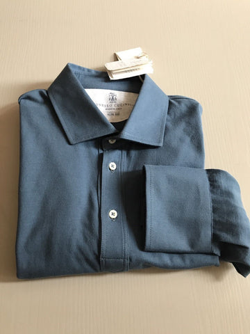 New $750 Brunello Cucinelli Men's Long Sleeve Polo Shirt Slim Fit Blue M Italy