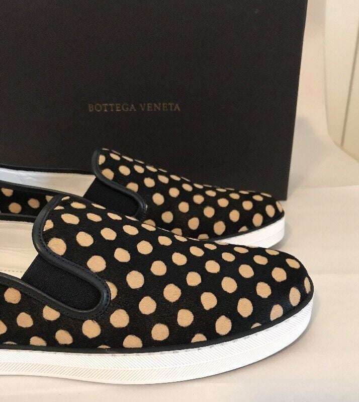 New $720 Bottega Veneta Women's Polka Print Calf Hair Sneakers 7US (37EUR )Italy