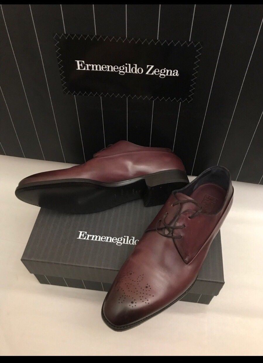 New $1295 Ermenegildo Zegna Premium Oxford Shoes DK Red / Burgundy 12 US - BAYSUPERSTORE