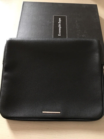 NWT $450 Ermenegildo Zegna Genuine Black Leather  PC Case Italy