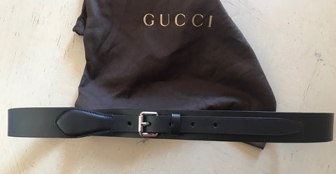 New $545 Gucci Mens Genuine Leather Belt Black Size 105/42 Italy