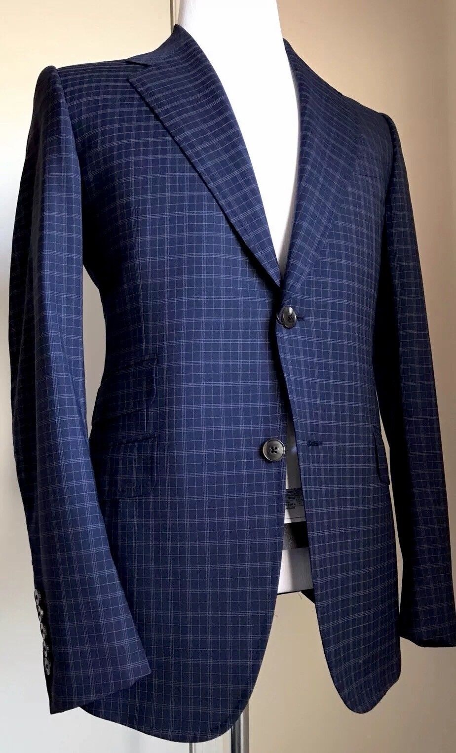 New $3245 Gucci Mens Wool Suit Blue Stripped 40R US ( 50R Eu) Italy - BAYSUPERSTORE