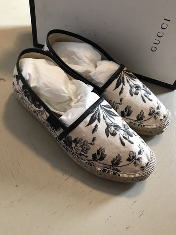 NIB $495 Gucci Women's FLAT Floral Flats Knight Shoes Black 7.5 US ( 37.5 Eu )