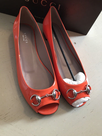 NIB $550 Gucci Women's Vernice Crystal Leather Shoes Orange 8 US ( 38 Eu )