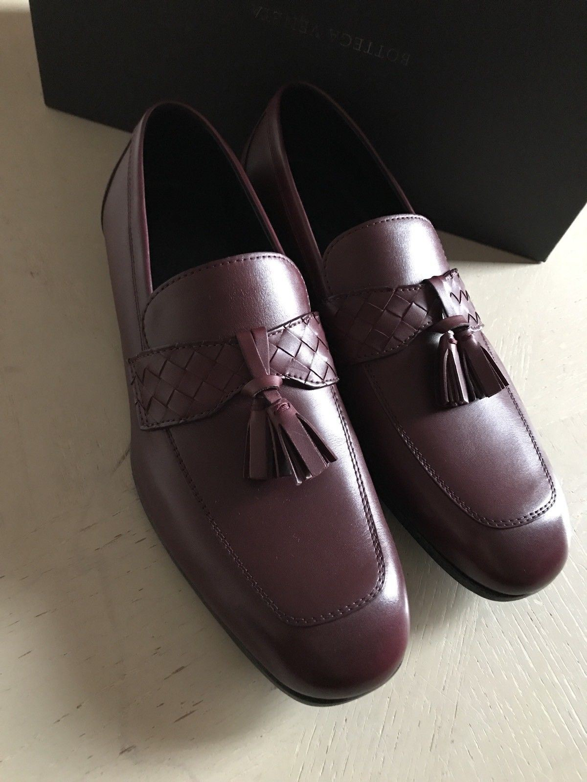 NIB $990 Bottega Veneta Mens Leather Shoes Brown/Burgundy 8 US ( 41 Eu ) - BAYSUPERSTORE