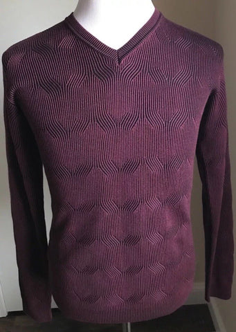 New $1625 Giorgio Armani Men Wool V-Neck Sweater Burgundy L US ( 52 Eu) Italy