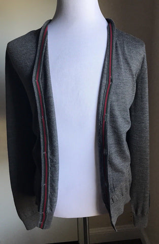 New $970 Gucci Mens Cardigan Sweater DK Gray Size XXL   Italy