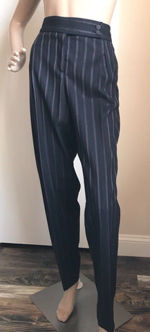 NWT $ 675 Giorgio Armani Women's  Pants Black Striped Size 48 Eu ( 18 US ) Italy - BAYSUPERSTORE