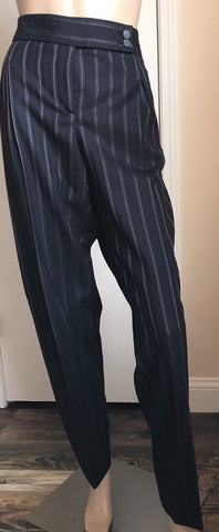 NWT $ 675 Giorgio Armani Women's  Pants Black Striped Size 48 Eu ( 18 US ) Italy