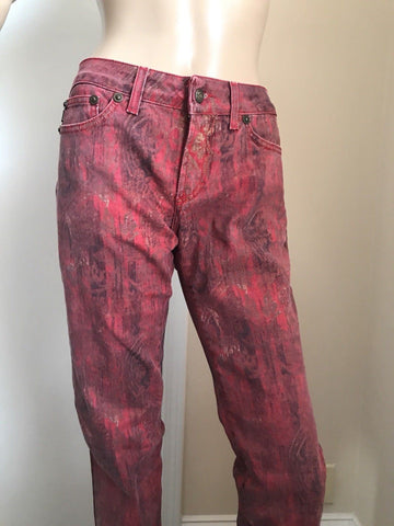 New $670 Just Cavalli Women's Pants Jeans Burgundy 43 ( 29 US ) Italy