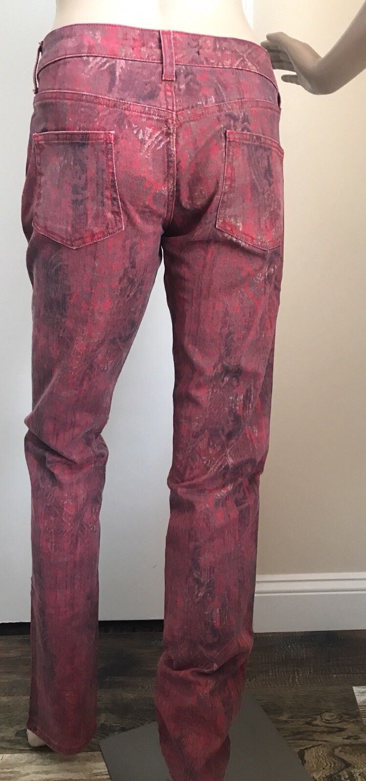 New $670 Just Cavalli Women's Pants Jeans Burgundy 43 ( 29 US ) Italy - BAYSUPERSTORE