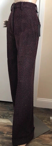 New $1850 Prada Women's Pants Burgundy Size 38 Eu ( 6 US ) Italy - BAYSUPERSTORE