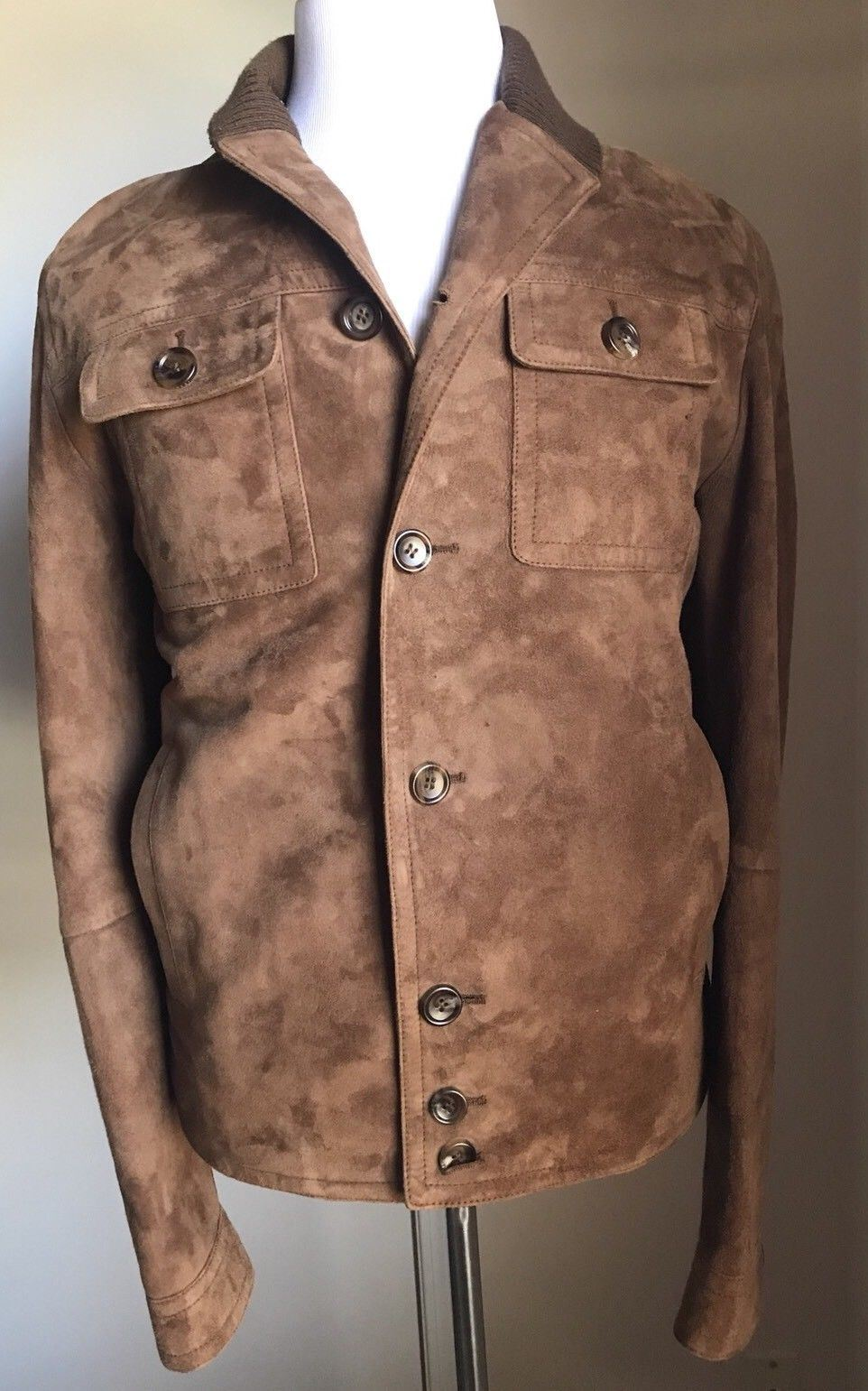 New $3950 Gucci Men's Suede Leather Brown Coat Jacket 40 US ( 50 Eu) 387684XG101 - BAYSUPERSTORE