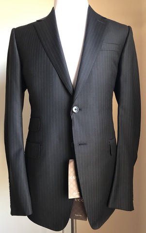 New $3055 Gucci Wool Signoria Suit  Black Striped 42R US ( 52R Eu) Italy