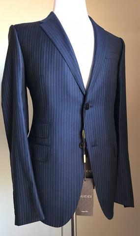 New $3055 Gucci Wool Signoria Suit Caspian Blue Striped 38R US ( 48R Eu) Italy