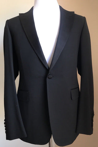 New $3500 Gucci Mens Wool Tuxedo Suit Black 40R US ( 50R Eu) Italy