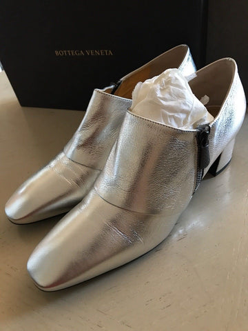 NIB $740 Bottega Veneta Women's Leather Shoes Boots Silver 9.5 US ( 39.5 Eu ) - BAYSUPERSTORE