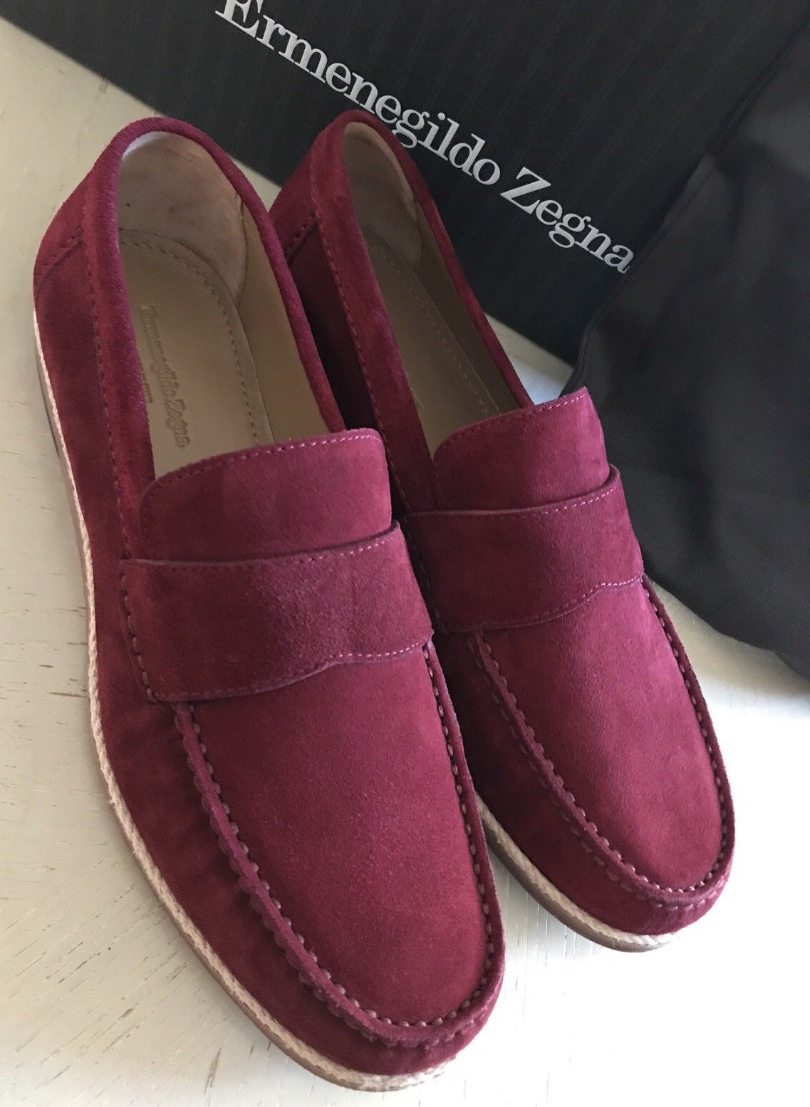 New $595 Ermenegildo Zegna Suede Loafers Shoes MD Red/Burgundy 9.5 US ( 42.5 E ) - BAYSUPERSTORE
