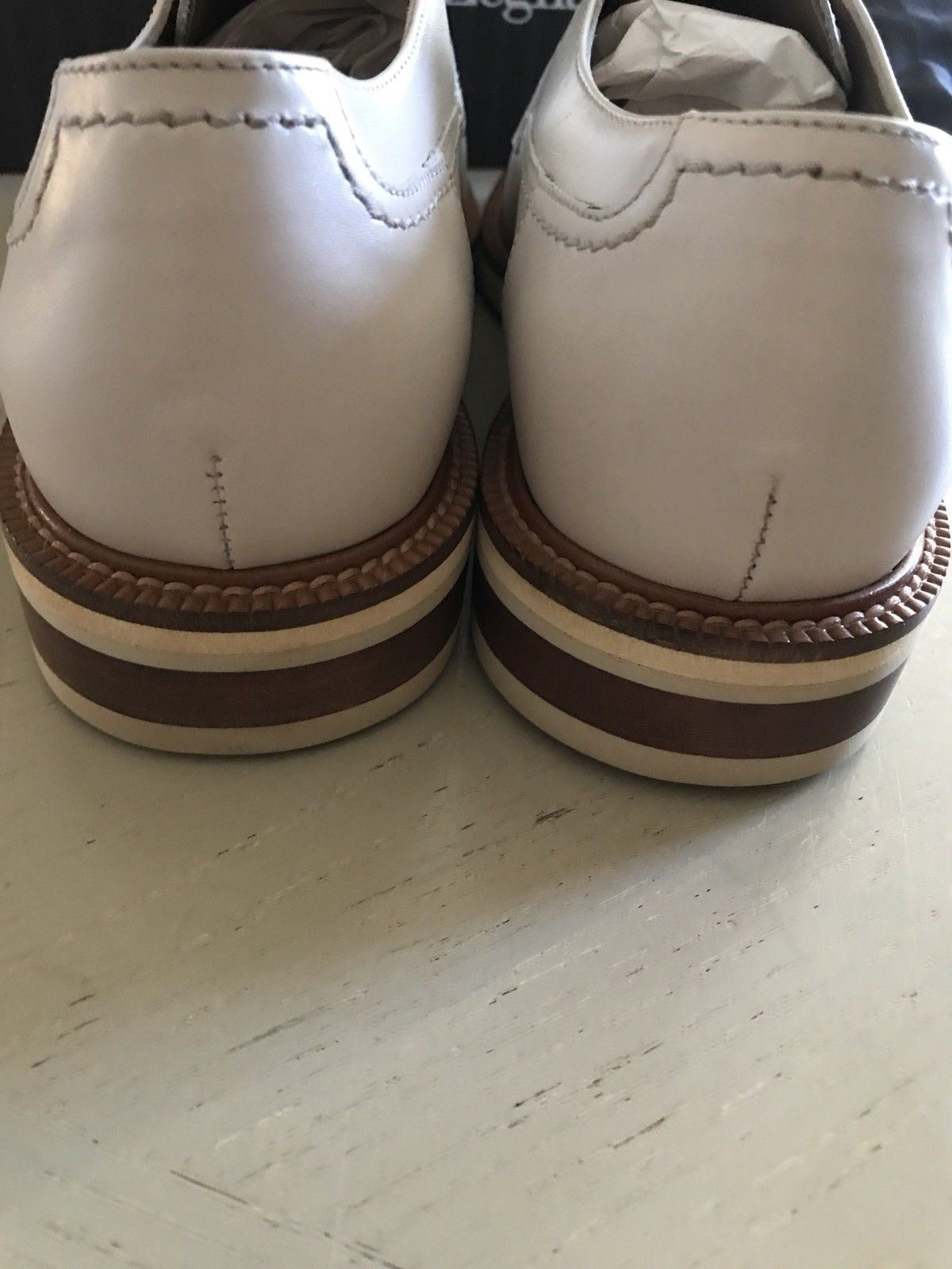 New $695 Ermenegildo Zegna Extra light Shoes NAT SLD 10.5 US ( 43.5 Eu ) Italy - BAYSUPERSTORE