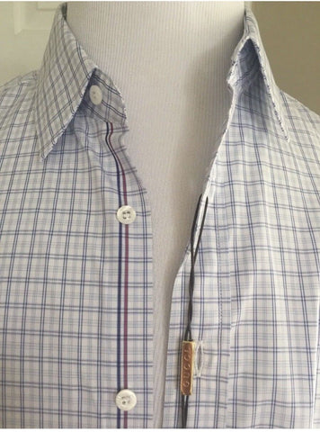 New $545 Gucci Men's Dress Shirt Classic Fit Blue/White 38/15 Italy