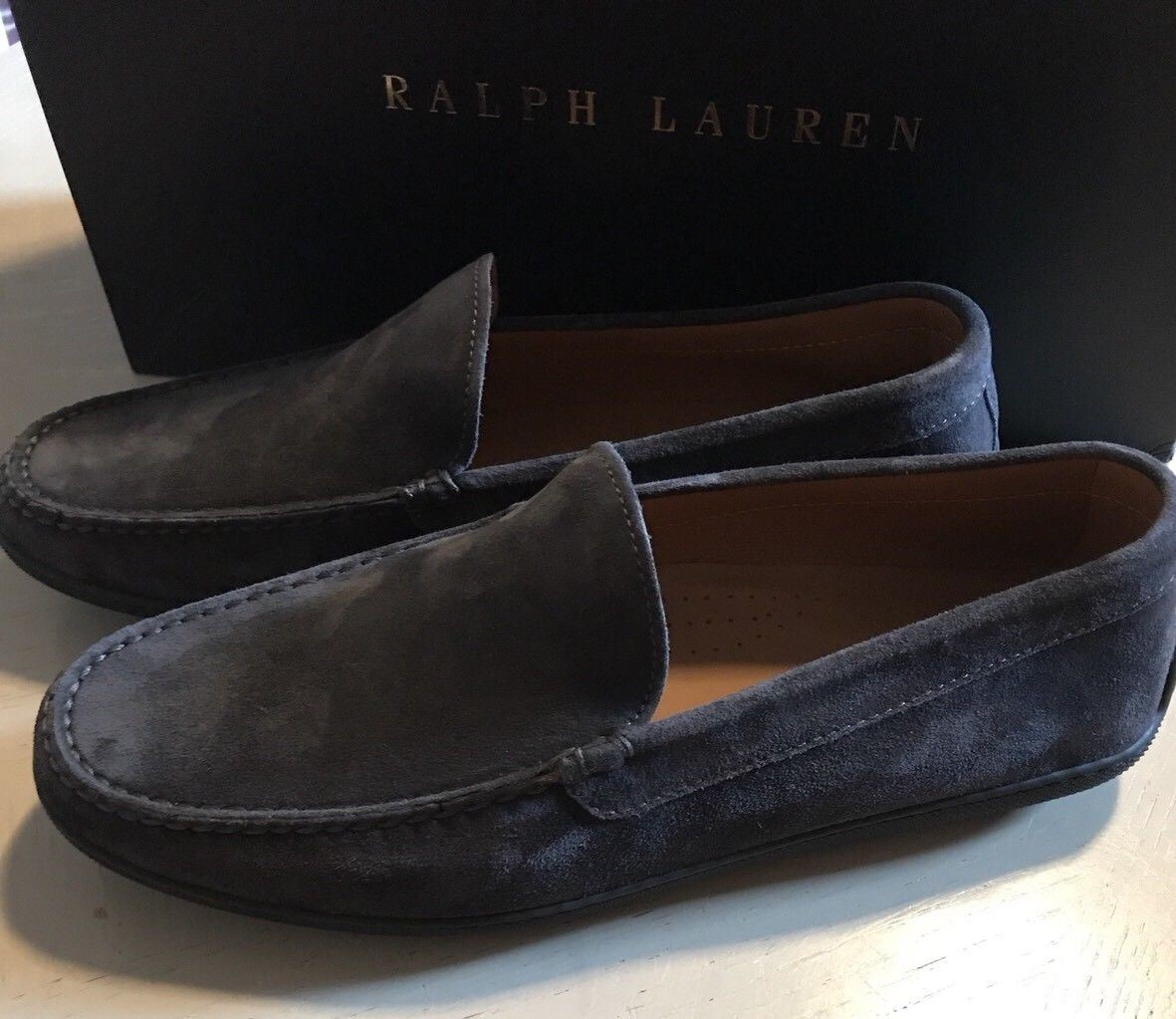 New $525 Men's Ralph Lauren Purple Label Suede Driver Shoes Gray 10.5 US(43.5Eu) - BAYSUPERSTORE