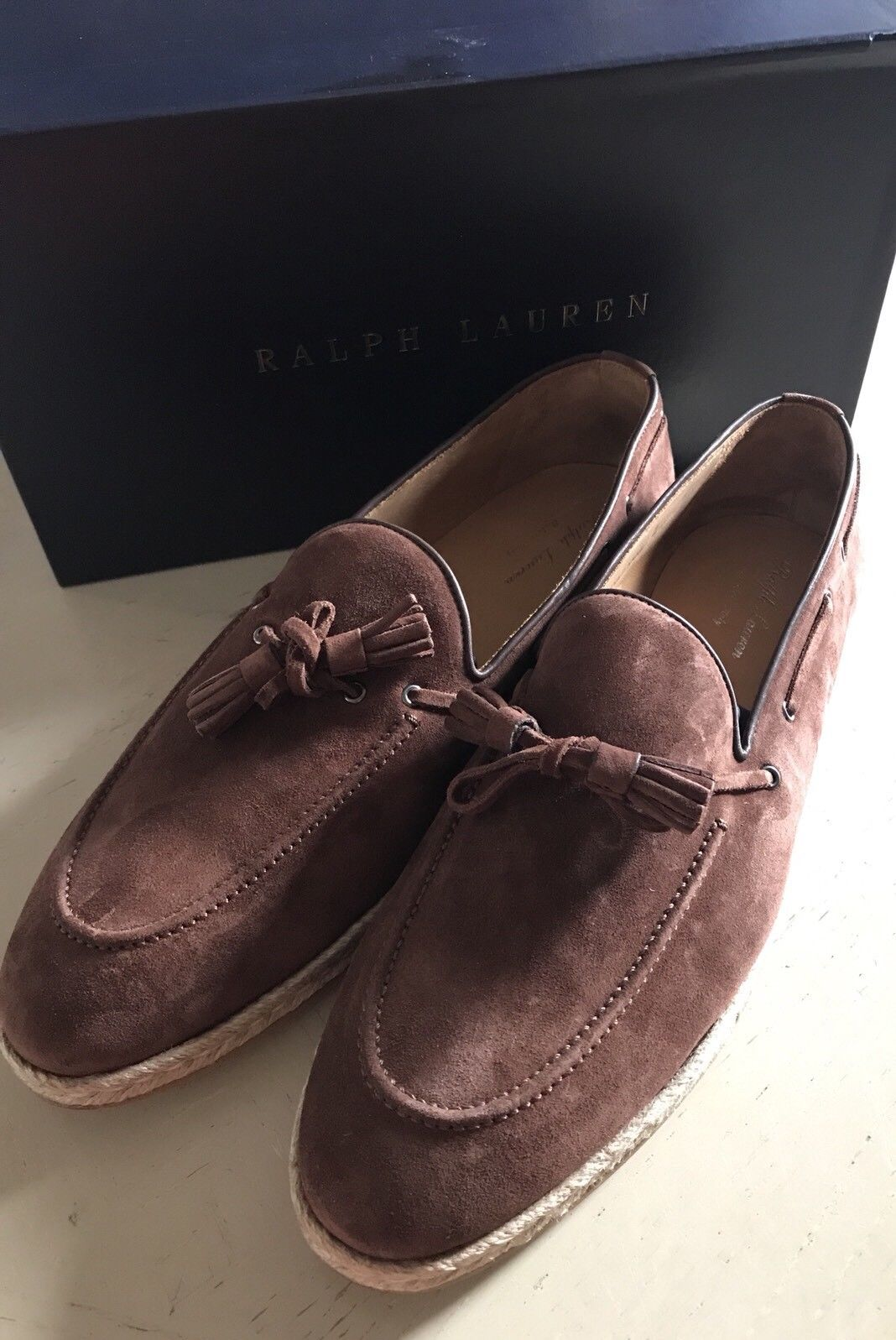 New $495 Men's Ralph Lauren Purple Label Calf Suede Loafers Shoes Brown 11 US - BAYSUPERSTORE